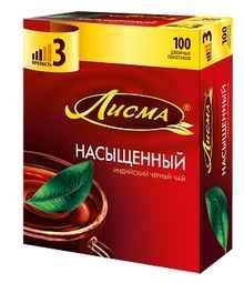 Чай пакетированный «Лисма насыщенный индийский черный» 100 пакетиков