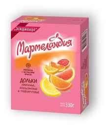 Мармелад «Мармеландия Апельсин Лимон Грейпфрукт дольки» 330 гр.