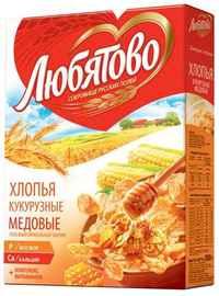 Хлопья «Любятово кукурузные медовые» 250 гр.