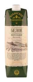 Вино столовое белое полусладкое «Кубанское Традиционное (Тетра Пак)»