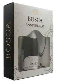 Винный напиток газированный белый полусладкий «Bosca Anniversary» в подарочной упаковке +2 фужера