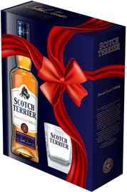 Виски российский «Scotch Terrier, 0.7 л» в подарочной коробке со стаканом