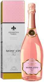 Вино игристое розовое сладкое «Moscato Rose Fiorino d'Oro» в подарочной упаковке
