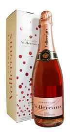 Вино игристое розовое брют «Vollereaux Brut Rose de Saignee» в подарочной упаковке