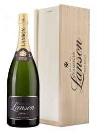 Шампанское белое брют «Lanson Black Label Brut» в деревянной подарочной упаковке