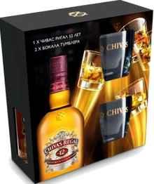 Виски шотландский «Chivas Regal 12 years old» в подарочной упаковке с 2-я бокалами