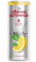 Газированный напиток «Святой Источник с ароматом лимона газированный без сахара» в жестяной банке