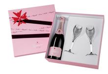 Шампанское розовое сухое «Lanson Rose Label Brut Rose» в подарочной упаковке с двумя бокалами