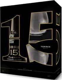 Бренди «Torres 15 Reserva Privada» в подарочной упаковке с двумя стаканами рокс