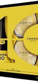 Бренди «Torres 10 Gran Reserva» в подарочной упаковке с двумя стаканами