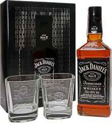 Виски американский «Jack Daniels №7 Tennessee» в подарочной упаковке из металлической сетки, с 2 стаканами