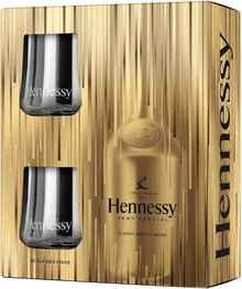Коньяк французский «Hennessy VS» в подарочной упаковке с 2 бокалами, Новогодний дизайн 2020