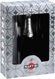 Вино игристое белое сладкое «Martini Asti» в подарочной упаковке с 2-мя бокалами
