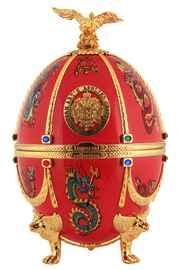 Водка «Императорская Коллекция в футляре в форме яйца Фаберже красного цвета с драконами и птицами» в бархатной коробке
