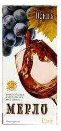 Вино столовое красное полусладкое «Осень Мерло Тетра-Пак»