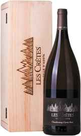 Вино белое сухое «Les Cretes Chardonnay Cuvee Bois» 2017 г., в деревянной подарочной упаковке