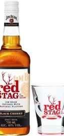 Напиток спиртной «Jim Beam Red Stag Black Cherry» со стаканом