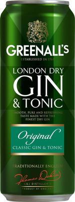 Напиток слабоалкогольный газированный «Greenall's Gin&Tonic Original» в жестяной банке