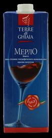 Вино красаное полусухое «Cielo e Terra Terre di Ghiaia Merlot (Tetra Pak)»