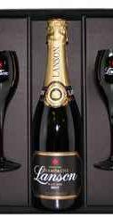 Шампанское белое брют «Lanson Black Label» + 2 бокала в подарочной упаковке