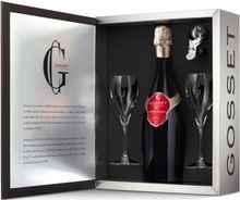 Шампанское белое брют «Gosset Grande Reserve Coffret with 2 Glasses and Stopper» подарочный набор