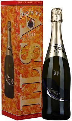 Вино игристое белое сладкое «Tosti Asti» в подарочной упаковке, с 2-мя бокалами