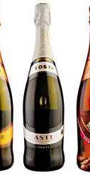 Вино игристое белое сладкое «Tosti Asti + Pink Moskato + Prosecco» подарочный набор на три бутылки