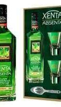 Абсент «Xenta» в подарочной упаковке с 2 стаканами и ложкой