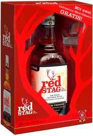 Виски американский «Jim Beam Red Stag Black Cherry» в подарочной упаковке+2 стакана