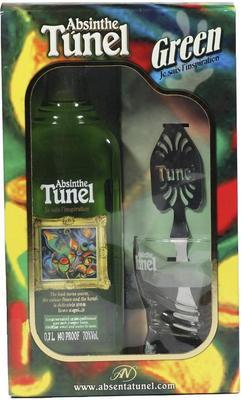 Абсент «Tunel Green gift box with spoon & glass» в подарочной упаковке с ложкой и стаканом.