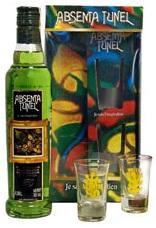 Абсент «Tunel Green gift box with 2 glasses» в подарочной упаковке с 2 бокалами.