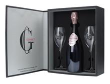 Шампанское розовое брют «Gosset Celebris Rose Extra Brut with 2 Glasses» 2007 г. подарочный набор