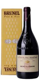 Вино красное сухое «Cotes du Rhone Brunel de la Gardine» 2013 г. в подарочной упаковке.