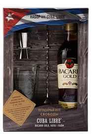 Ром «Bacardi Gold» в подарочной упаковке в комплекте со стаканом ложкой коктельной и мерным стаканом
