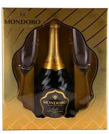 Вино игристое белое сладкое «Mondoro Asti» в подарочной упаковке с 2-мя бокалами