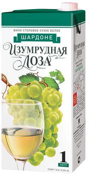 Вино столовое белое сухое «Изумрудная лоза Шардоне (Тетра Пак)»