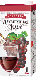 Вино столовое красное полусладкое «Изумрудная Лоза Изабелла (Тетра Пак)»