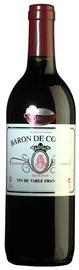 Вино столовое красное полусладкое «Baron De Costac Vin De Table Francais»