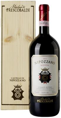 Вино красное сухое «Nipozzano Chianti Rufina Riserva» 2012 г. в подарочной упаковке (дерево)