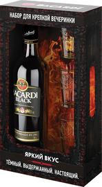 Ром «Bacardi Black» в подарочной упаковке + 3 шота