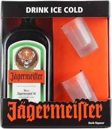 Ликер «Jagermeister» в подарочной упаковке + 2 бокала