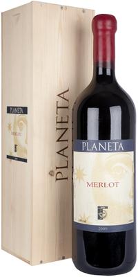 Вино красное сухое «Merlot Planeta» 2009 г. в подарочном деревянном футляре