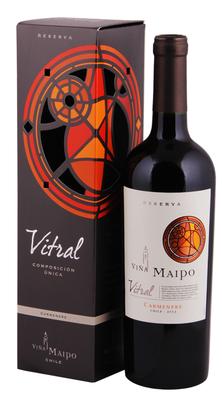 Вино красное сухое «Vina Maipo Vitral Carmenere Reserva» в подарочной упаковке