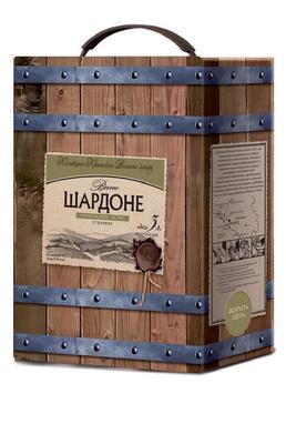 Вино столовое белое полусладкое «Крымский винный завод Шардоне, 3 л»