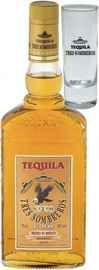 Текила «Tres Sombreros Gold» со стаканом