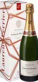 Шампанское белое брют «Laurent-Perrier Brut, 0.75 л» в подарочной упаковке (новогодний дизайн)