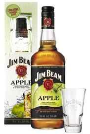 Виски американский «Jim Beam Apple» в подарочной упаковке с 2-мя стаканами