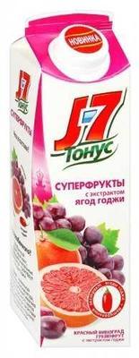 Сок «J7 Тонус Суперфрукты красный виноград и грейпфрут с экстрактом ягод годжи, 1 л»