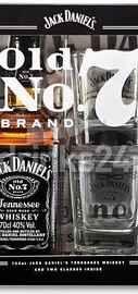 Виски американский «Jack Daniels» в картонной подарочной упаковке + 2 стакана