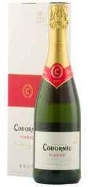Вино игристое белое брют «Codorniu Clasico Cava brut» в подарочной упаковке